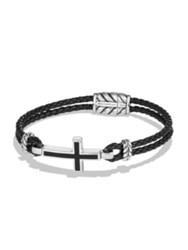 David Yurman Leather Cross Bracelet Black