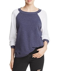Wildfox Couture Color Block Baseball Sweatshirt Midnight Showing