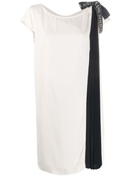 Class Roberto Cavalli Pleated Panel Midi Dress Neutrals