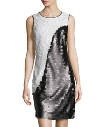 Marc New York By Andrew Marc Two Tone Allover Sequin Dress Black White