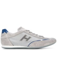 Hogan Lace Up Trainers Men Cotton Leather Suede Rubber 4 Grey