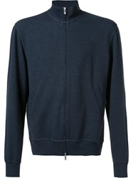 Brunello Cucinelli Reversible 'Baseball' Zipped Sweatshirt Blue