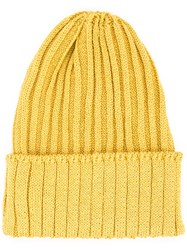 Kijima Takayuki Ribbed Knit Beanie Men Hemp Nylon Polyurethane One Size Yellow Orange