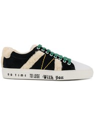 Mira Mikati Lace Up Fluzzy Sneakers White