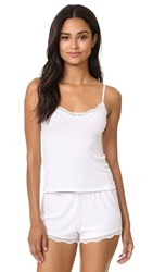 Only Hearts Club Feather Weight Rib Lace Trim Cami White