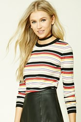 Forever 21 Striped Crew Neck Sweater Navy Red