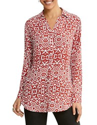 Foxcroft Printed Button Down Shirt Ruby Red