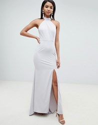 Jarlo High Neck Fishtail Maxi Dress With Open Back Detail In Grey Soft Grey