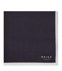 Reiss Alform Mens Piped Pocket Square In Blue