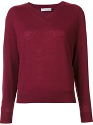 Vince V Neck Jumper Red