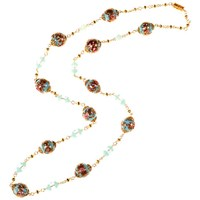 Alice Joseph Vintage Gold Toned Venetian Lampworked Glass Bead Necklace Turquoise Gold