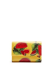 Dolce And Gabbana Watermelon Print Leather Wallet Yellow Multi