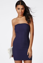Missguided Catherine Crinkle Chiffon Mini Dress Navy Blue