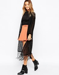 Motel Boho Long Kimono In Crochet Lace Black