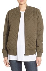 Thread And Supply Women's Quilted Bomber Jacket Olive