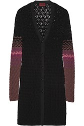 Missoni Crochet Knit Wool Cardigan Black