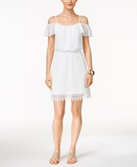 Thalia Sodi Lace Off The Shoulder Blouson Dress Only At Macy's Bright White