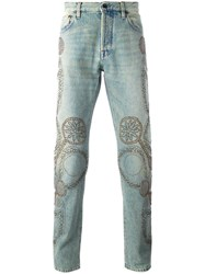Valentino Studded Straight Leg Jeans Blue