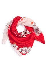Halogenr Women's Halogen Metro Floral Square Silk Scarf Red Combo