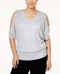 Msk Plus Size Metallic Cold Shoulder Crinkle Top