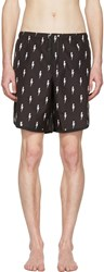 Neil Barrett Black And White Thunderbolt Swim Shorts