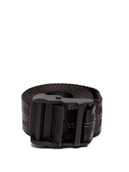 Off White Logo Jacquard Canvas Belt Black