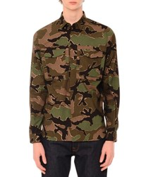 Valentino Camo Print Long Sleeve Military Shirt Green Multi