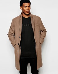 Asos Wool Overcoat In Light Tan Grey