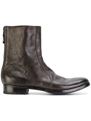 Premiata Distressed Ankle Boots Leather Brown