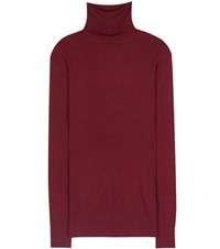 Dolce And Gabbana Ribbed Cashmere Silk Sweater Red