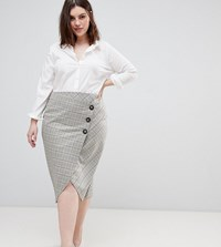 Asos Design Curve Tailored Midi Skirt In Check With Button Wrap Detail Multi