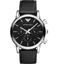 Emporio Armani Ar1733 Stainless Steel And Leather Watch Black