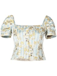 Brock Collection Striped Floral Top Blue