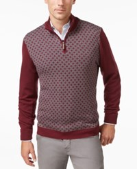 Tasso Elba Men's Big And Tall Pattern Quarter Zip Sweater Only At Macy's Port Combo