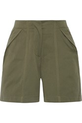 Monse Pleated Cotton Twill Shorts Army Green