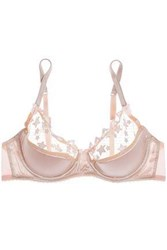 bf2bb4ef22 Mimi Holliday Angel Face Embroidered Tulle And Satin Push Up Bra Taupe