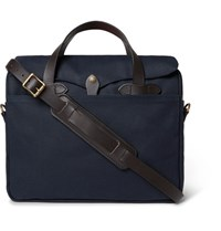 Filson Original Leather Trimmed Twill Briefcase Navy