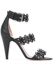 Red Valentino Buckle Heeled Sandal Women Leather 39.5 Black