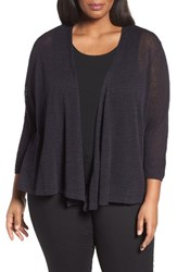 Nic Zoe Plus Size Women's '4 Way' Three Quarter Sleeve Convertible Cardigan Midnight