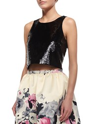 Parker Black Karmina Sequin Sleeveless Crop Top Black