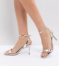 Asos Half Time Barely There Heeled Sandals Silver