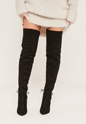 Missguided Black Faux Suede Tie Back Over The Knee Boots