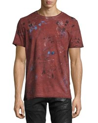 Robin's Jeans Painted Crewneck T Shirt Burgundy