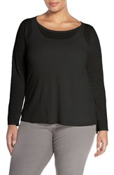 Plus Size Women's Eileen Fisher Organic Linen And Nylon Sheer Boxy Sweater Black
