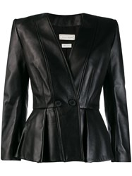 Alexander Mcqueen Fitted Wrap Over Jacket Black