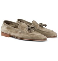 Edward Green Portland Leather Trimmed Suede Tasselled Loafers Gray Green