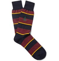 Anonymous Ism Embroidered Striped Cotton Blend Socks Navy