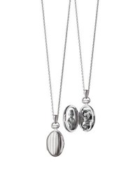 Monica Rich Kosann 3 4 Pinstriped Silver Oval Locket Necklace