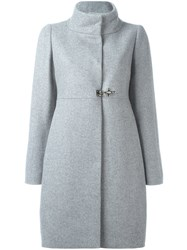 Fay Funnel Neck Coat Grey