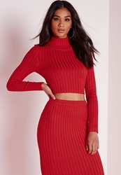 Missguided Long Sleeve Knitted Crop Jumper Red Scott